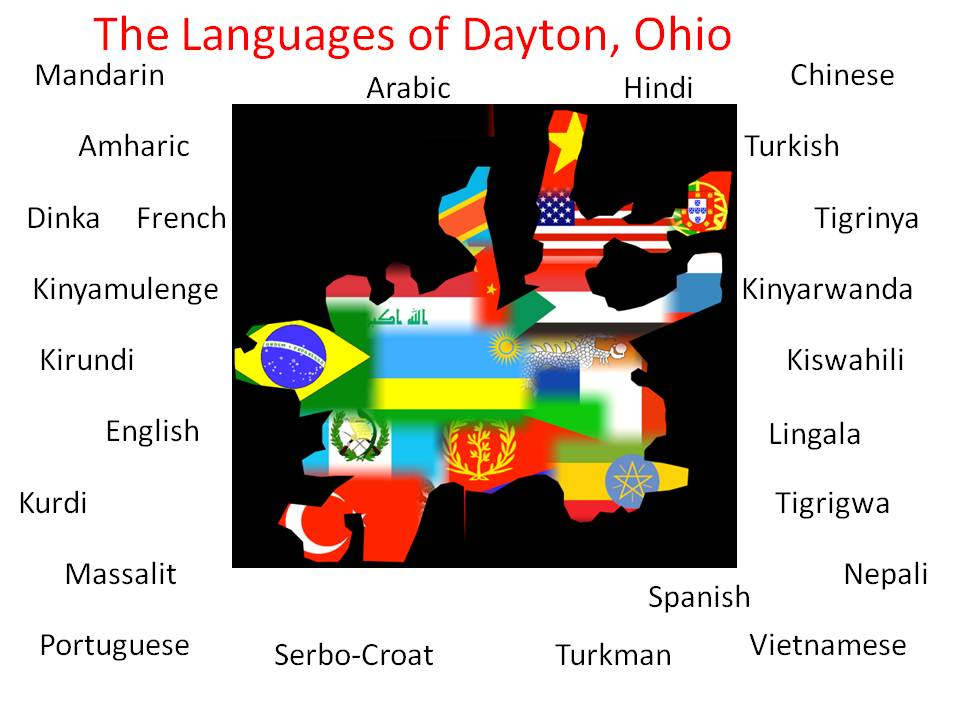 map - languages of Dayton