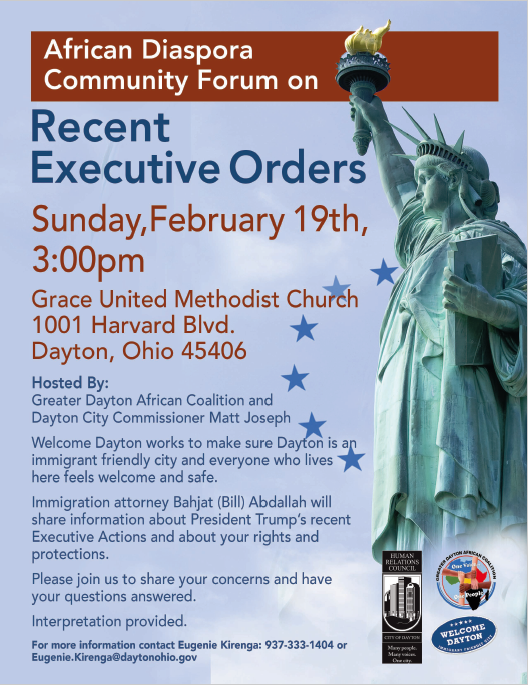 Community Forum on Executive Orders Flier