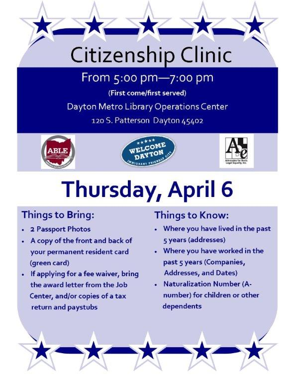 Citizenship Clinic @ Dayton Metro Library Operations Center | Dayton | Ohio | United States