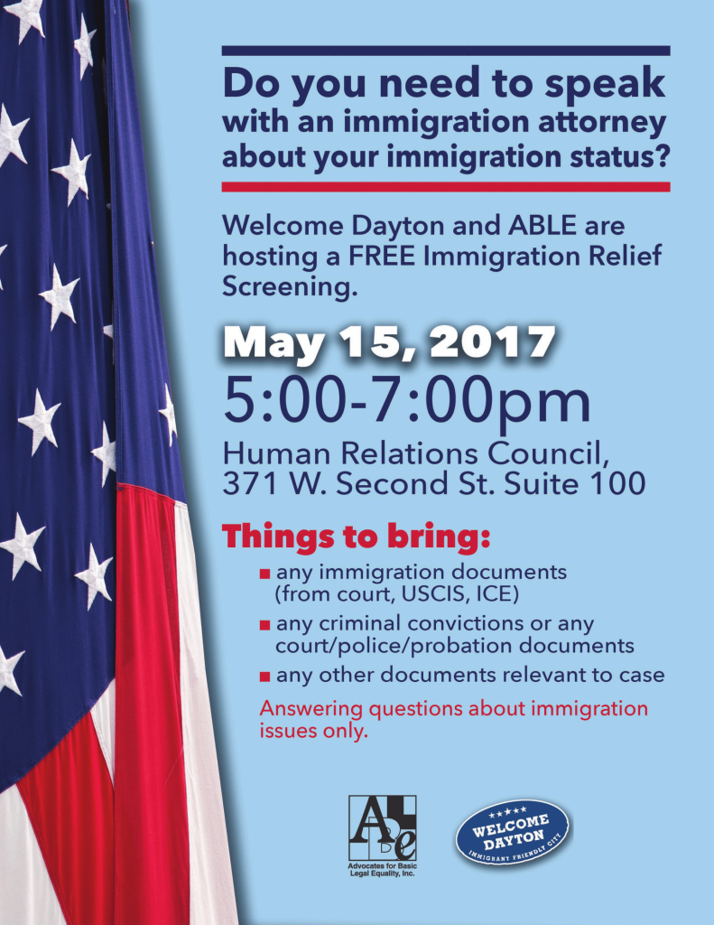 Immigration Relief Screening @ Human Relations Council, Suite 100 | Dayton | Ohio | United States