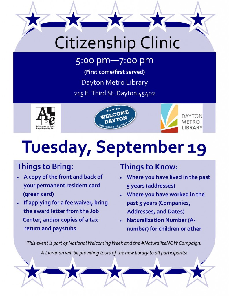 Citizenship Clinic Flyer September 19