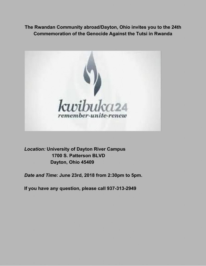 Commemoration of Rwandan Genocide @ University of Dayton River Campus | Dayton | Ohio | United States