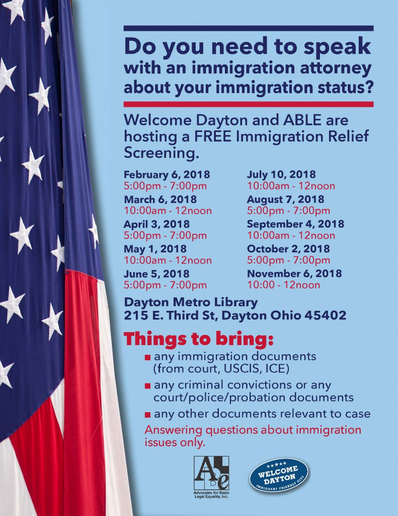 Immigration Event Flier 2018 English
