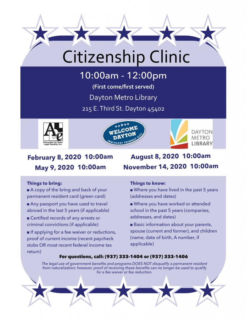 2020 Citizenship Clinic @ Dayton Metro Library | Dayton | Ohio | United States