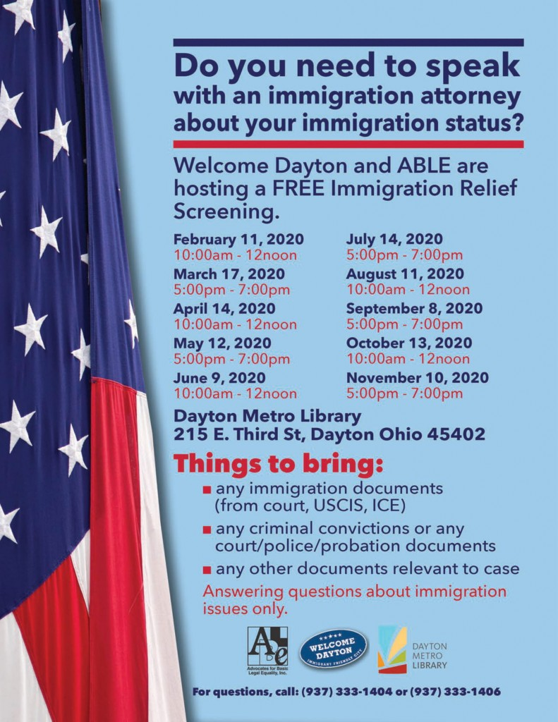 Immigration Relief Clinic flyer 2020